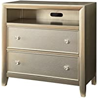 HOMES: Inside + Out Iohomes Paulina Silver Finish Top Mirror Panel 2-Drawer Media Stand