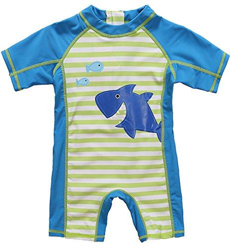 Vegatos Baby Boys Shark One Piece Swimsuit Short Sleeve Rash Guard Bathing Suits 3-6 Months