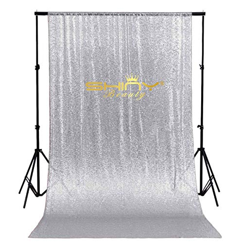 ShinyBeauty Sequin BACKDROP-CURTAIN-8FTx8FT-Silver Sequin Photo Backdrop,Photo Booth Background,Sequence