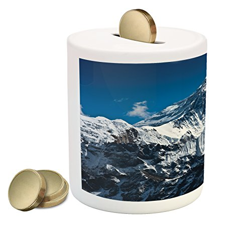 (Lunarable Mountain Piggy Bank, Everest Peak Landscape Clouds on Wild Snowy Summit Nobody in The Nature Theme, Printed Ceramic Coin Bank Money Box for Cash Saving, Blue White)