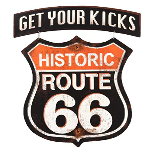 Route 66 Memorabilia - Route 66 Open Road Brands Linked Emb Tin Sign - Get Your Kicks