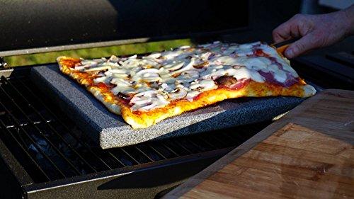 Gasgrill und Holzkohlegrill geeignet L 38x30x3cm Universal Granit Pizzastein Grillstein f/ür Backofen Heisser Stein