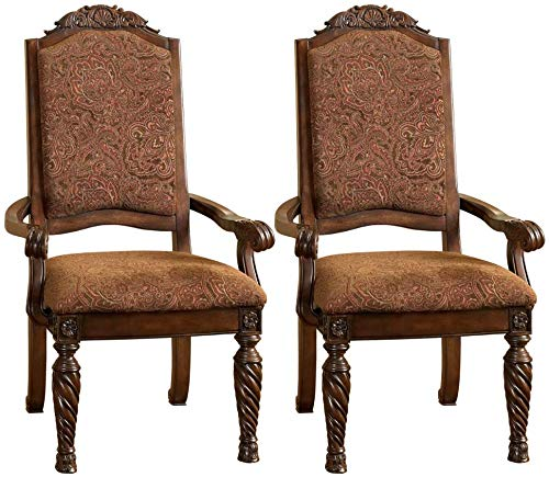 Signature Design By Ashley - North Shore Dining Upholstered Arm Chair - Set of 2 - Traditional Style - Dark Brown