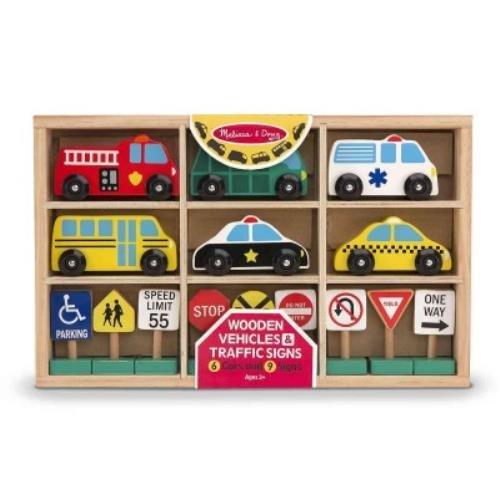 (Melissa & Doug Wooden Vehicles & Traffic Signs)