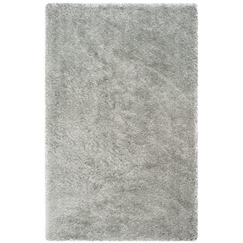 (Safavieh Plush Memory Foam Shag Collection SGP256B Handmade Silver Polyester Area Rug (5' x 8'))