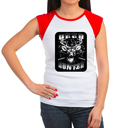 Royal Lion Women's Cap Sleeve T-Shirt Deer Hunter Buck Rack and Rifles - Red/White, XL (16-18) Turkey Womens Cap Sleeve T-shirt