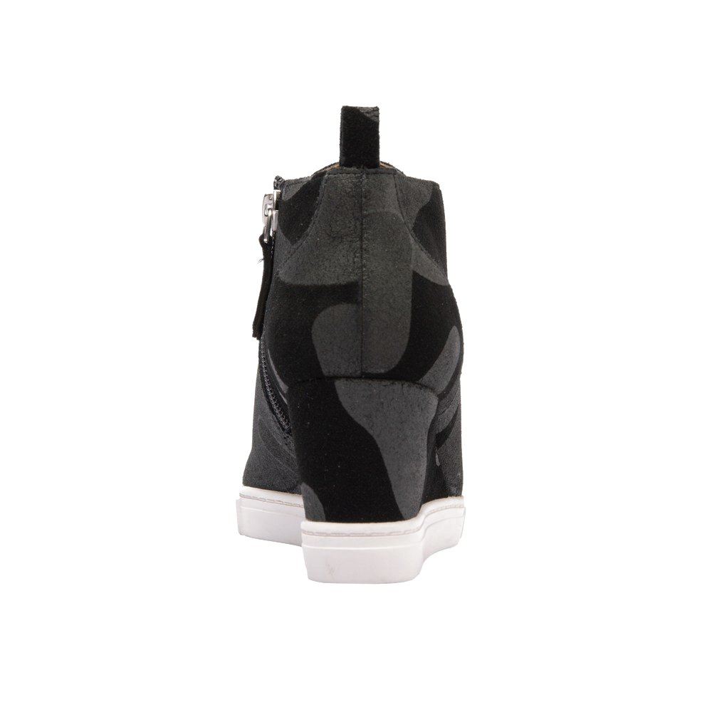 Felicia | Women's Leather Platform Wedge Bootie Sneaker Leather Women's Or Suede B074R3L1Q4 7 M US|Black/Grey Camouflage Printed Suede 2ee5f8