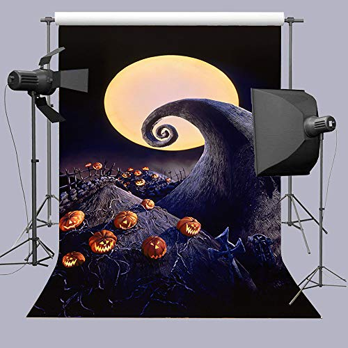 Jack Skeleton Decorations (Full Moon Halloween Horror Nights Pumpkin Patch Photography Backdrop Hallowmas Tombstones The Nightmare Before Christmas Photo Booth Props Background Baby Shower Party Banner Vinyl 5x7ft Cake)