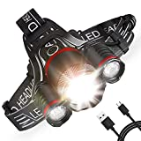 Intelligent Light Sense Headlamp, 5000 LM Rechargeable LED Head Flashlight 5 Modes Zoomable Headlight Waterproof, 18650 Batteries Included