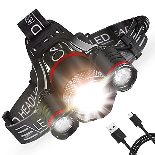 Head Light, Intelligent Light Sense Headlamp, Zoomable Rechargeable Head Flashlight Adjustable Head Light LED 5000 LM Waterproof (18650 Batteries/USB - Cats 5000