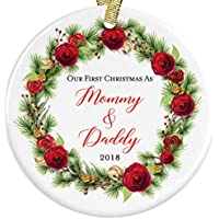 Our First Christmas as Mommy and Daddy 2018 New Parents Present Idea Floral Ceramic Round Ornament, 3