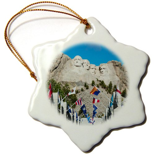 3dRose ORN_192179_1 USA, South Dakota, Black Hills, Mount Rushmore National Memorial. Snowflake Ornament, Porcelain, 3-Inch