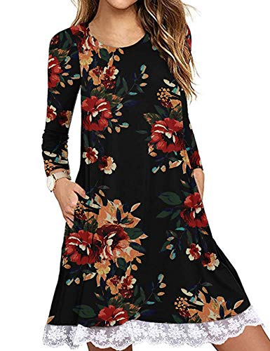 Halife Womens Fall Clothes Casual Floral Print Long Sleeve Mini Swing Dress Floral Black,XL