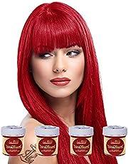 La Riche Directions 4 opakowanie półpermanentnej farby do włosów / farby do włosów (4 x 88 ml) - czerwony mak