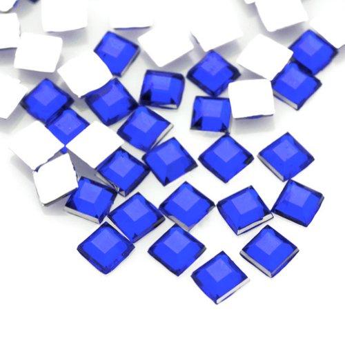 - 1000pcs Dark Blue Square 2x2x1 Flat Back Rhinestones Flatback acrylic Gems for Nail Art Cards wholesale AF0006-17