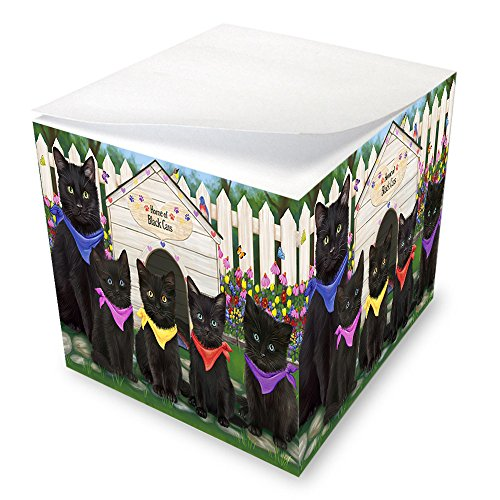 Spring Dog House Black Cats Note Cube NOC52150 by Doggie of the Day