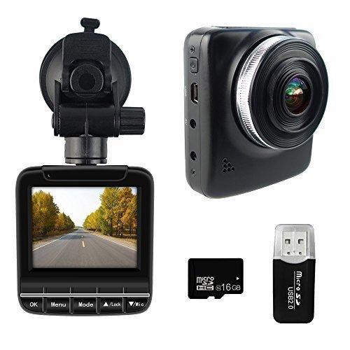 "Dash Cam FHD 1296p 30fps Super Night Vision Car Camera DVR 2.3"" LCD 170 Wide Angle Dashboard Recorder G-Sensor Loop Recording HDR Free 16GB SD Card"