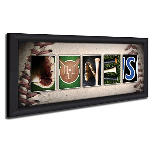 Framed Canvas – Personalized Baseball Name Art Print for Man cave, Boys Room, or Office