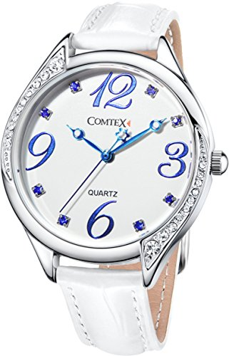 Comtex Women's Watches with Graceful Curve Crystal Case Dial White Leather Watch Belt Quartz Wristwatch (Curve Crystal Case)