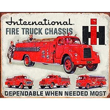Desperate Enterprises International Fire Truck Chassis Tin Sign, 16