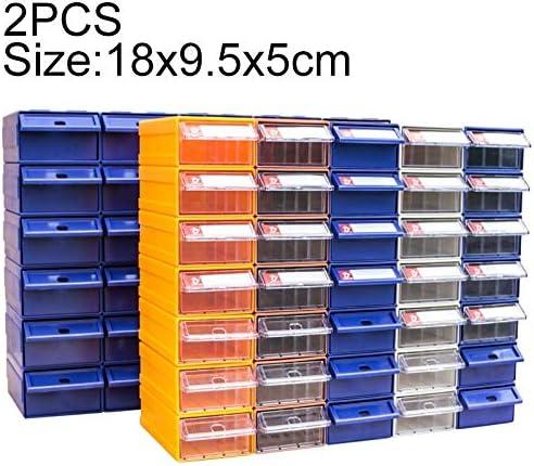 LIJIAN サイジング:18 cm x 9.5 cm x 5 cm、ランダム配色、2個厚く組み合わせた柔軟部品キャビネット引き出しタイプコンポーネントボックスビルディングブロックコーポレートボックスハードウェアボックス
