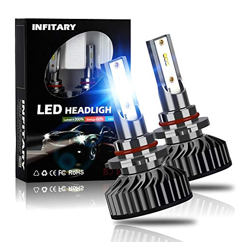 INFITARY 9006 HB4 LED Headlight Bulbs Conversion Kit All-in-One 64W 8000LM 6500K ZES Chip High Low Hi/Lo Beam Bright Cool White Fog Light Plug Play Car Truck Motorcycle Replacement LED Headlight Bulb