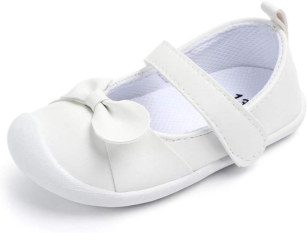 LACOFIA Baby Girls Mary Jane Flats Infant Anti-Slip First Walking Shoes