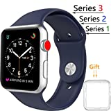 Threenine for Apple Watch Band, Durable Soft Silicone iWatch Strap Replacement Sport Band for Apple Watch Band Series 3 Series 2 Series 1 Sport, Edition (midnight Blue, 38mm S/M)