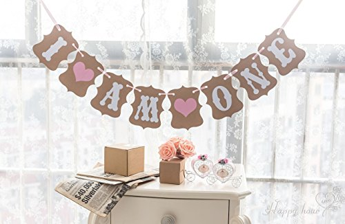 1 Set I AM ONE Banner Baby Girl 1ST Birthday Garland Sign Photo Props Birthday Party Decoration (First Birthday Sign)