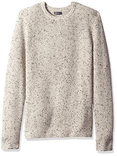 Van Heusen Men's Long Sleeve Texture Block Crew Neck Pullover Sweater, Cream Heather, ()