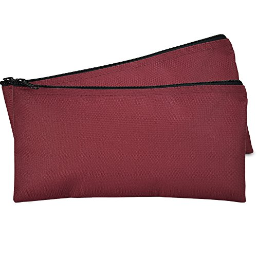 DALIX Bank Bags Money Pouch Securi Deposit Utility Zipper Coin Bag Maroon 2 Pack