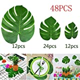 KUUQA 48 Pcs Tropical Party Decor Artificial Plant Tropical Palm Monstera Leaves Simulation Leaf for Hawaiian Luau Safari Party Jungle Beach Theme BBQ Birthday Party Decorations Supplies 3 Sizes