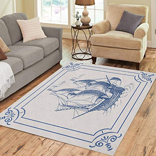 - Semtomn Area Rug 2' X 3' Old Caravel Ship Blue Dutch Frigate Vintage Sailboat Sailing Home Decor Collection Floor Rugs Carpet for Living Room Bedroom Dining Room