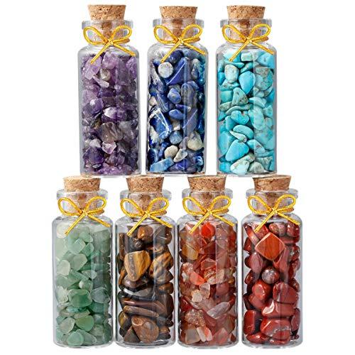 (rockcloud 7 Mini Birthstone Wishing Bottles Amulets Tumbled Wicca Stone Healing Reiki Crystal Jewelry Making Home)