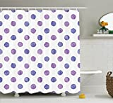 Purple Decor Shower Curtain Set By Ambesonne, Watercolor Paint Style Nostalgic Polka Dot Pattern Nursery Room Decorations Classic Print, Bathroom Accessories, 69W X 70L Inches, Lilac Blue