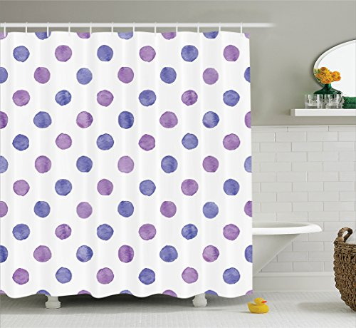 Purple Decor Shower Curtain Set By Ambesonne, Watercolor Paint Style Nostalgic Polka Dot Pattern Nursery Room Decorations Classic Print, Bathroom Accessories, 69W X 70L Inches, Lilac Blue - Multi Polka Dot Print