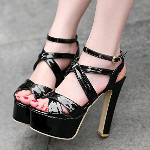 Xing Lin Sandalias De Mujer Gruesas Con Rosa Ranurados Para Sesiones Nocturnas Sandalias Ultra-Como El Calzado, 14Cm De Alta Noche Blanco Modelo Zapatos Zapatos Black (Normal Edition)