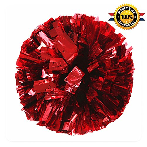 BCLAND Cheerleading Metallic Foil & Plastic Ring Pom Poms Cheerleading Poms Pack of 2 (red)