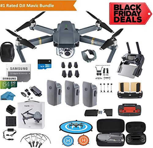 DJI Mavic Pro Drone Quadcopter Fly More Combo with 3 Batteries, 4K Professional Camera Gimbal Bundle Kit with DJI Bag,...