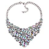 BriLove Women's Tribal Ethnic Crystal Multi Teardrop Flower Statement Necklace Iridescent Clear AB Silver-Tone