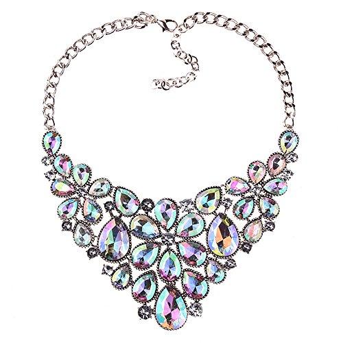 BriLove Women's Tribal Ethnic Crystal Multi Teardrop Flower Statement Necklace Iridescent AB Silver-Tone (Drop Bib Necklace)
