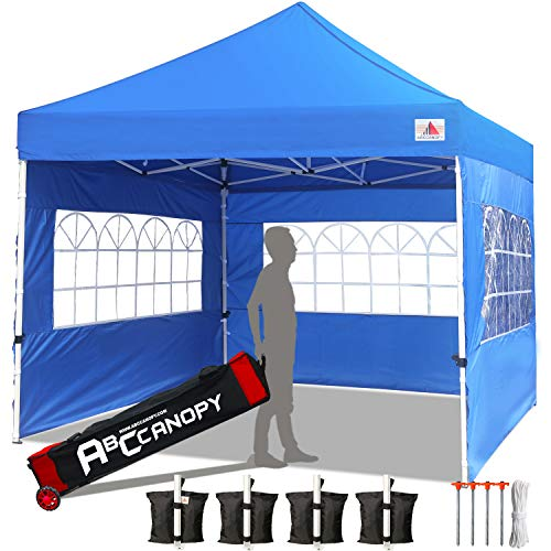 ABCCANOPY Tents Canopy Tent 10 x 10 Pop Up Canopies Commercial Tents Market stall with 3 Removable Sidewalls and 1 Door Wall Bonus 4 Weight Bags, 4 Stakes and Upgrade Roller Bag, Royal Blue ()