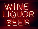 Mirsne neon signs, glass tube neon lights, 24'' by 24'' inch Wine Liquor Beer neon signs bar, the best neon sign custom supplied for a wide range of personal uses.