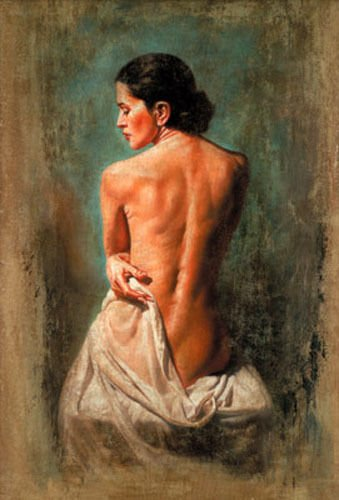 100% Hand Painted portrait nude young lady woman seated in landscape Canvas Wall Art Oil Painting by Well Known Artist, Framed, Ready to Hang