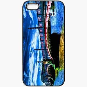 Protective Case Back Cover For iPhone 5 5S Case Bridge River Lantern Sky Paints Clouds Black