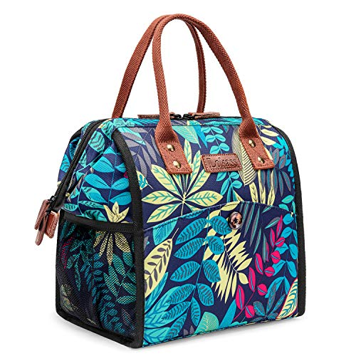 CoolBELL Lunch Bags For Women Floral Lunch Tote Water-Resistant Cooler Bag Soft Leak Proof Lunch Box Insulated Lunch Holder With Wide Opening for Women/Girl/Office / (Blue Colorful - Floral Thermal Tote