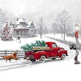 Paint By Number Kits 16 X 20 Inch Canvas Diy Oil Painting For Kids, Students, Adults Beginner With Brushes And Acrylic Pigment -Christmas Tree House Car