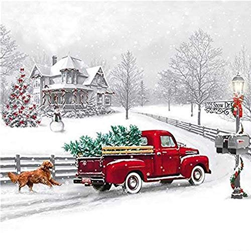 Diy Oil Painting Paint By Number Kit-Red Christmas Tree Car,16X20 Inch -