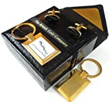 The British Gold Company 24K Gold Jaguar Keyring And Cufflinks Set In Luxury Case Luxurious Car Accessoriies