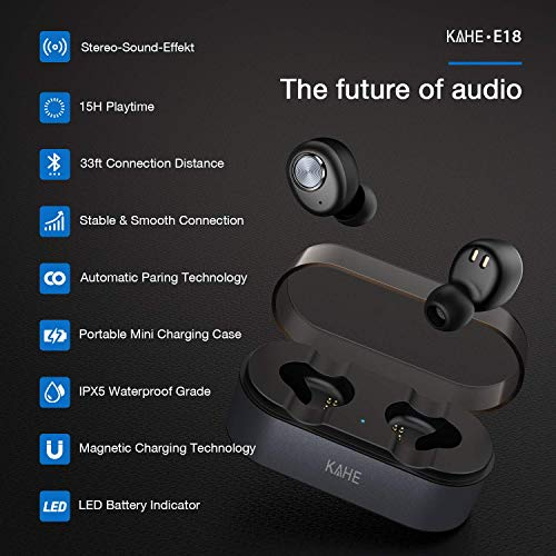 Wireless Earbuds, KAHE E18 True Wireless Headphones Bluetooth V5.0 Ear Buds HD Stereo Sound 15H Playtime TWS in-Ear Headset with Charging Case, Built-in Mic